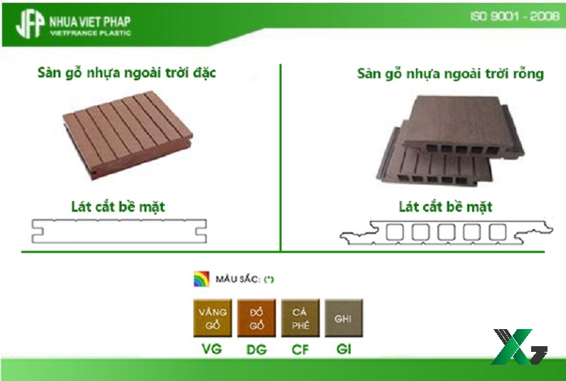 So sánh mẫu sàn gỗ nhựa ngoài trời đặc và rỗng