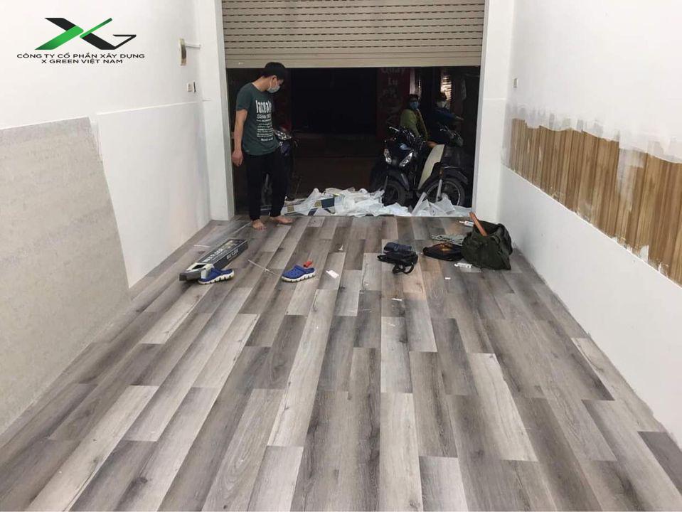 Nền nhà sau khi thi công Sàn nhựa dán keo