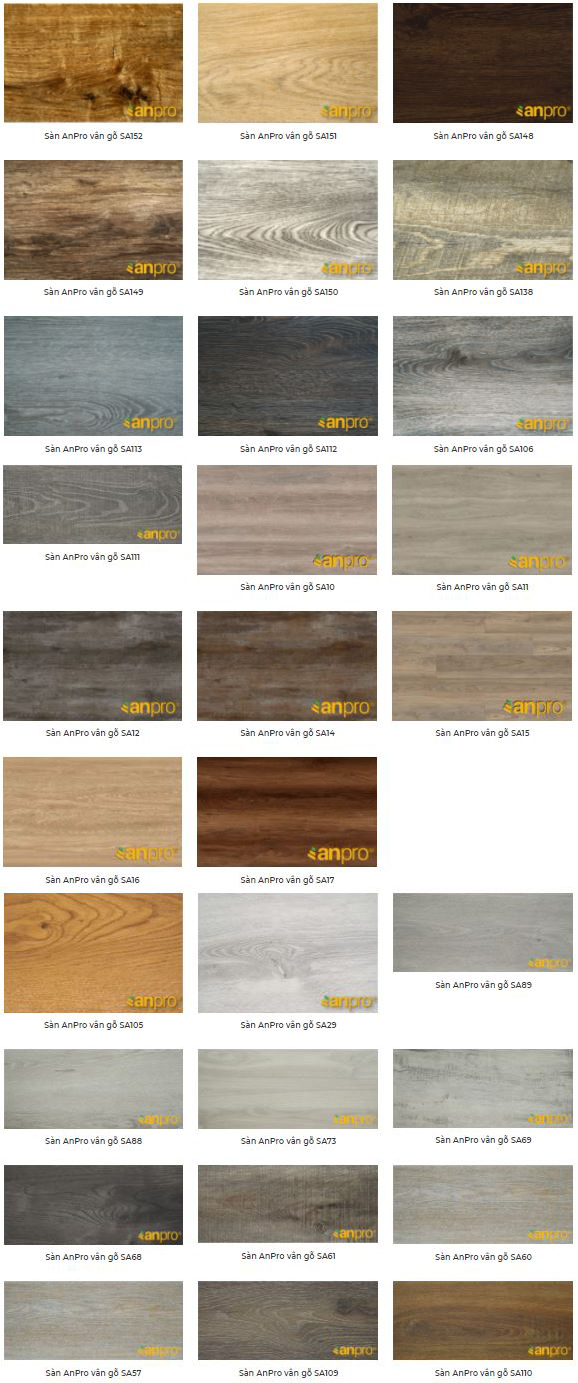 Catalogue màu sắc sàn nhựa hèm khóa Anpro